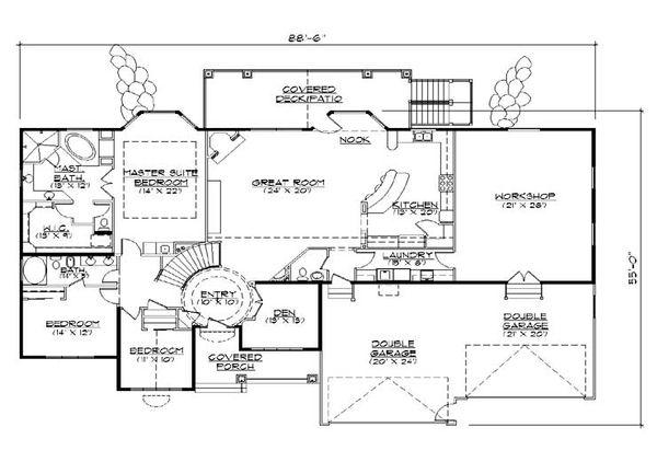 Traditional Floor Plan - Main Floor Plan Plan #5-328