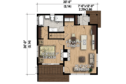 Contemporary Style House Plan - 1 Beds 1 Baths 815 Sq/Ft Plan #25-4578