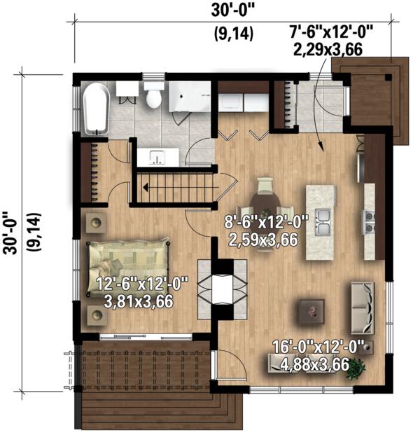 Contemporary Floor Plan - Main Floor Plan #25-4578