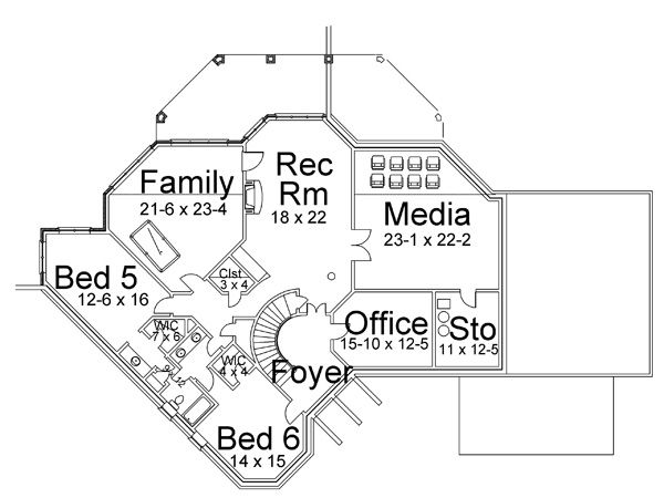 Traditional Floor Plan - Lower Floor Plan Plan #119-234
