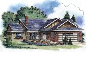 Ranch Exterior - Front Elevation Plan #18-1055