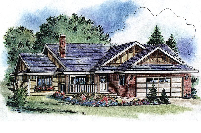 Architectural House Design - Ranch Exterior - Front Elevation Plan #18-1055
