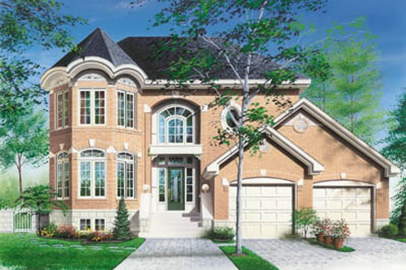 European Style House Plan - 3 Beds 2.5 Baths 2125 Sq/Ft Plan #23-275 Exterior - Front Elevation