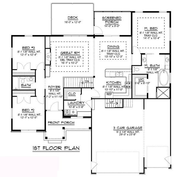 Craftsman Floor Plan - Main Floor Plan #1064-62