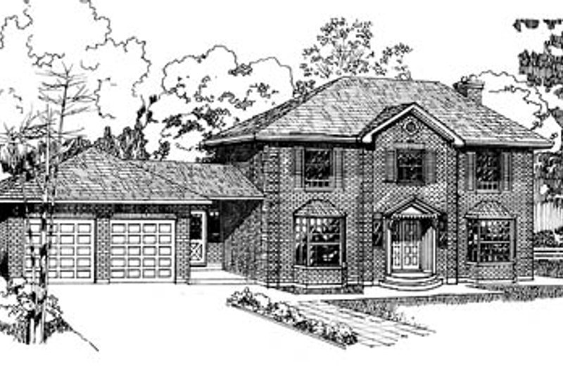 Colonial Style House Plan - 4 Beds 2.5 Baths 2463 Sq/Ft Plan #47-131 Exterior - Front Elevation