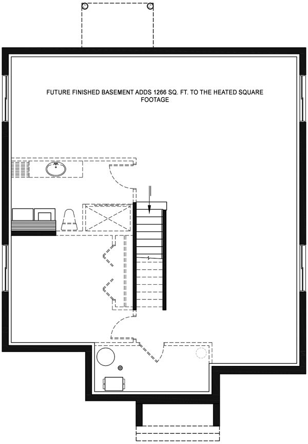 Contemporary Floor Plan - Lower Floor Plan Plan #23-2714