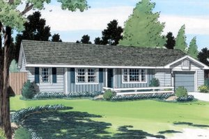Ranch Exterior - Front Elevation Plan #312-542