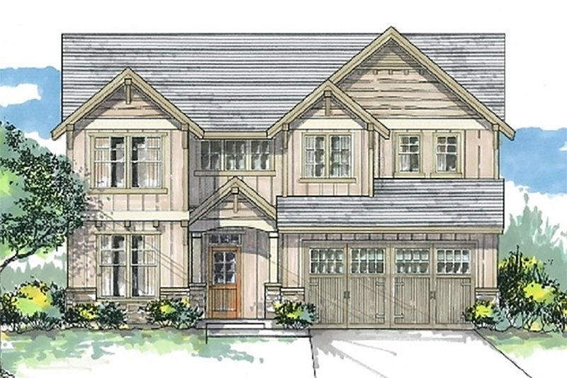 Craftsman Style House Plan - 4 Beds 2.5 Baths 2399 Sq/Ft Plan #53-452 Exterior - Front Elevation