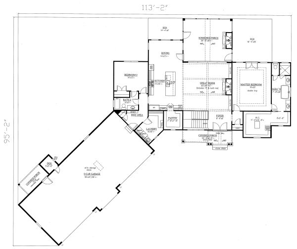Craftsman Floor Plan - Main Floor Plan Plan #437-116