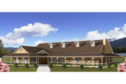 Ranch Style House Plan - 4 Beds 4.5 Baths 5037 Sq/Ft Plan #1-931 Exterior - Front Elevation