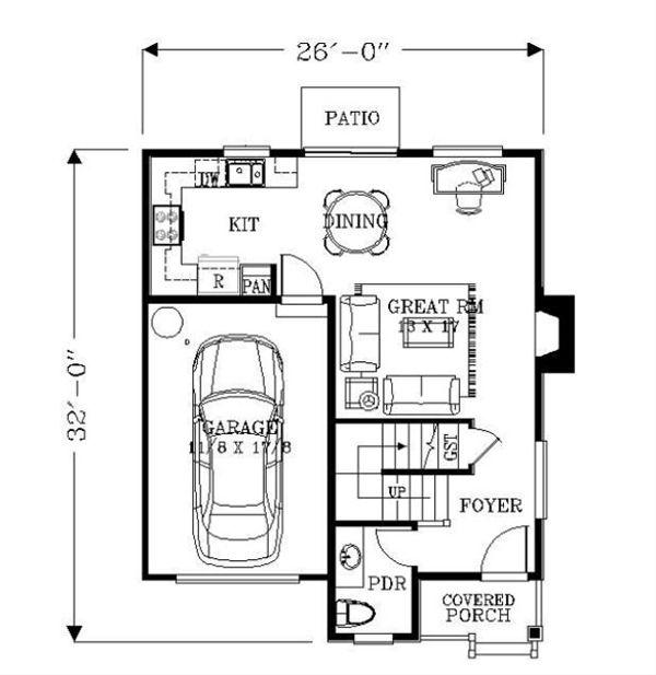 Bungalow Floor Plan - Main Floor Plan Plan #53-416