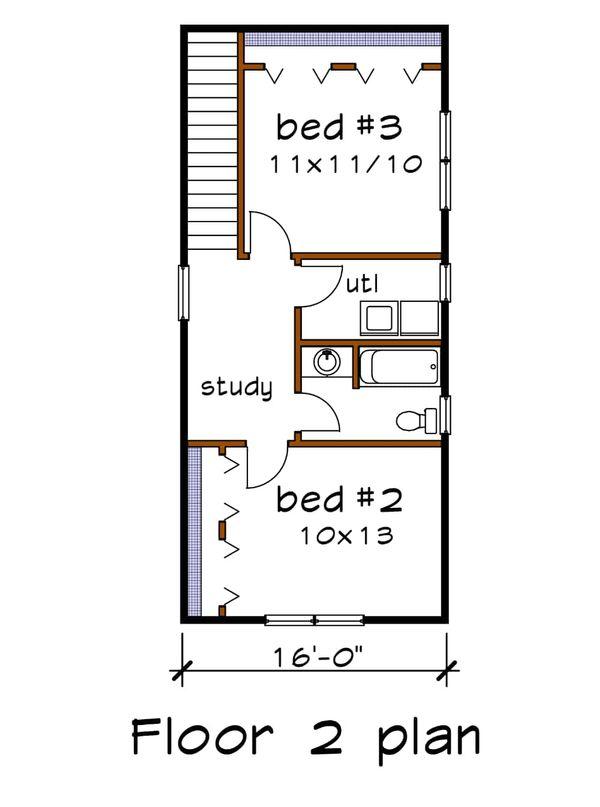 Country Floor Plan - Upper Floor Plan Plan #79-203