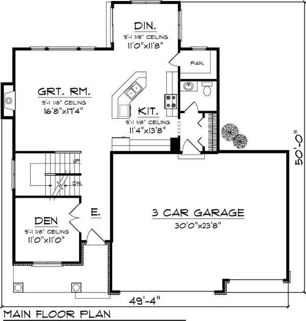Craftsman Floor Plan - Main Floor Plan Plan #70-1049