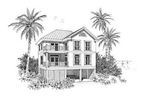 Beach Exterior - Front Elevation Plan #37-151