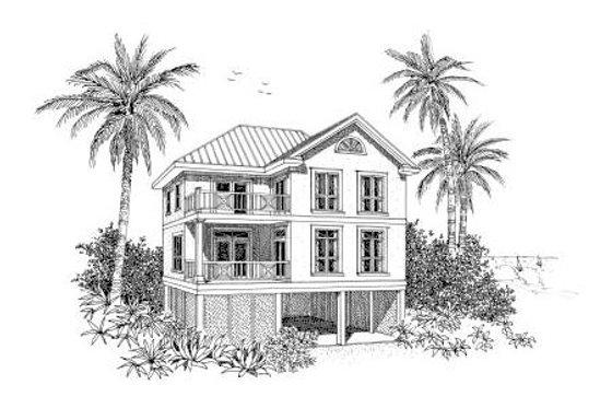 Beach Exterior - Front Elevation Plan #37-151