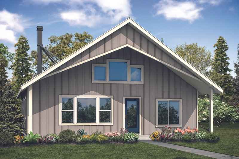 Cabin Exterior - Front Elevation Plan #124-1128