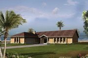 Mediterranean Style House Plan - 3 Beds 2.5 Baths 1960 Sq/Ft Plan #57-428 Exterior - Front Elevation