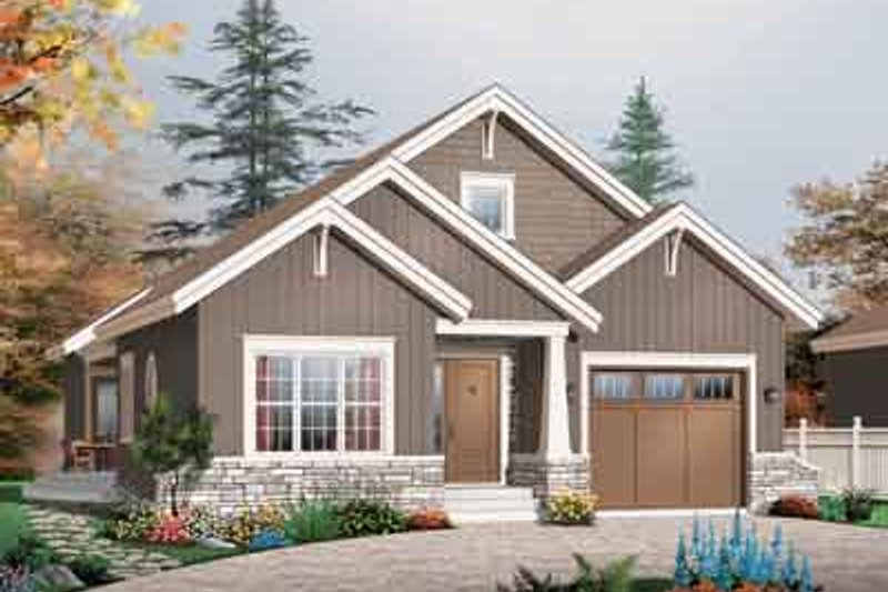Craftsman Style House Plan - 3 Beds 2 Baths 1700 Sq/Ft Plan #23-649 Exterior - Front Elevation