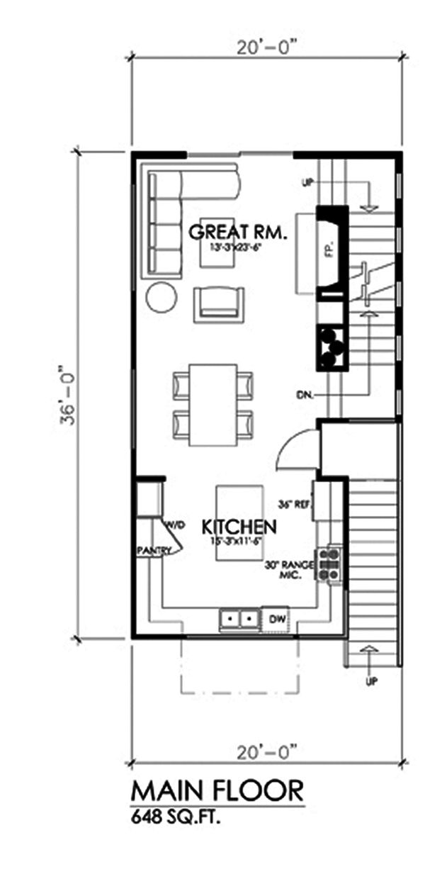 Contemporary Floor Plan - Main Floor Plan Plan #484-14