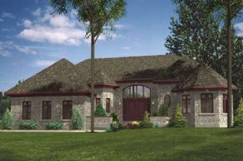 European Style House Plan - 2 Beds 1.5 Baths 1972 Sq/Ft Plan #138-125 Exterior - Front Elevation