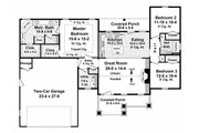Craftsman Style House Plan - 3 Beds 2 Baths 1604 Sq/Ft Plan #21-344 Floor Plan - Main Floor