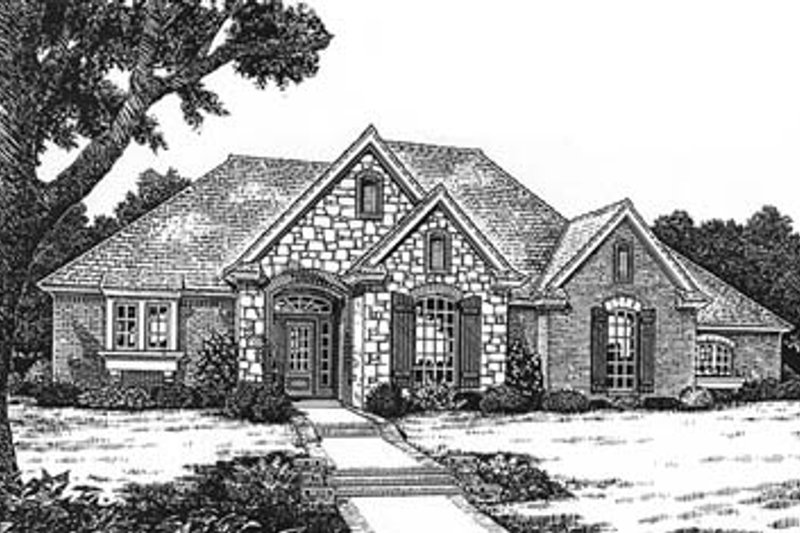 European Style House Plan - 3 Beds 2 Baths 1966 Sq/Ft Plan #310-587 Exterior - Front Elevation