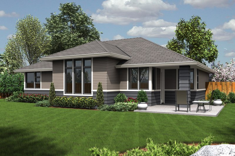 Ranch Exterior - Rear Elevation Plan #48-599 - Houseplans.com