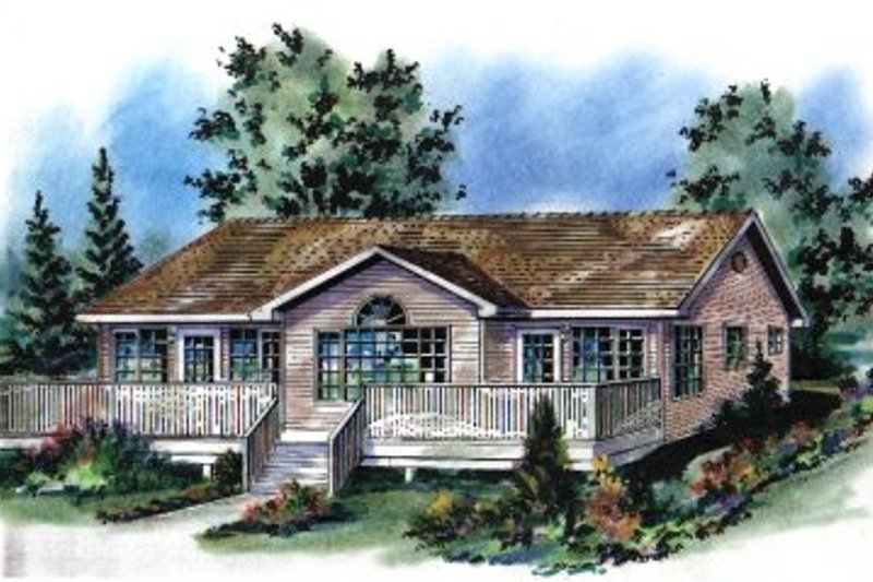 House Blueprint - Ranch Exterior - Front Elevation Plan #18-164
