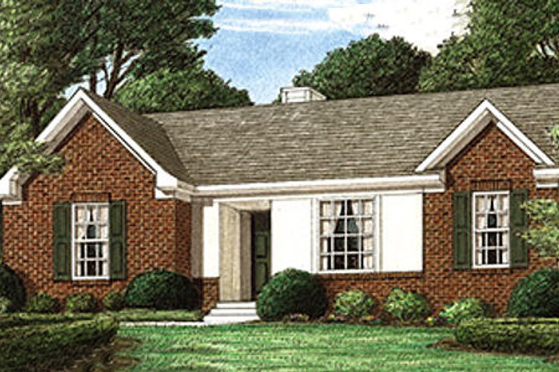 Traditional Style House Plan - 3 Beds 2 Baths 1123 Sq/Ft Plan #34-101 Exterior - Front Elevation