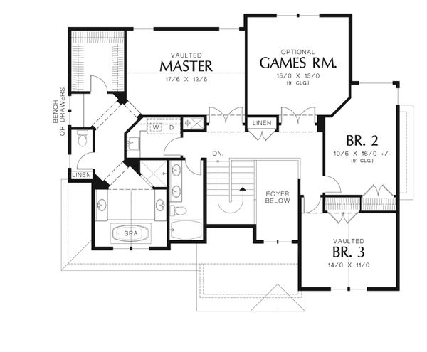 Country Floor Plan - Upper Floor Plan Plan #48-635