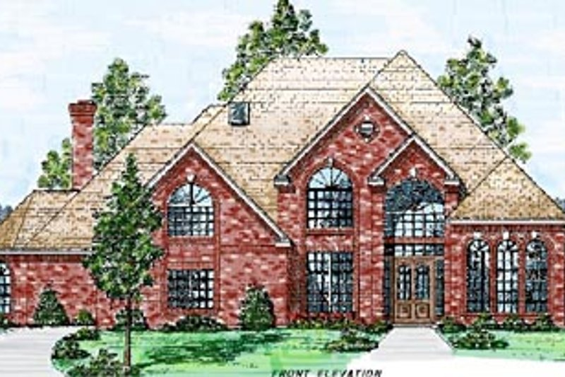 European Style House Plan - 5 Beds 4.5 Baths 4176 Sq/Ft Plan #52-119 Exterior - Front Elevation