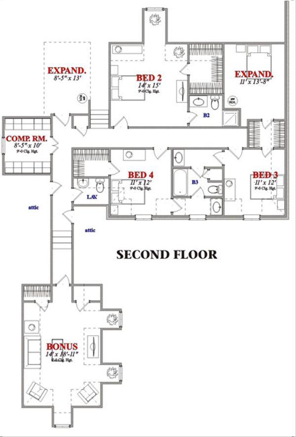 European Floor Plan - Upper Floor Plan Plan #63-229