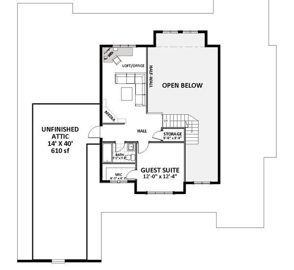 Craftsman Floor Plan - Upper Floor Plan Plan #898-52