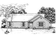 Ranch Style House Plan - 3 Beds 2 Baths 1250 Sq/Ft Plan #30-116 Exterior - Front Elevation