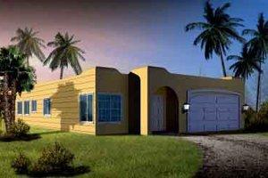 Adobe / Southwestern Exterior - Front Elevation Plan #1-1289
