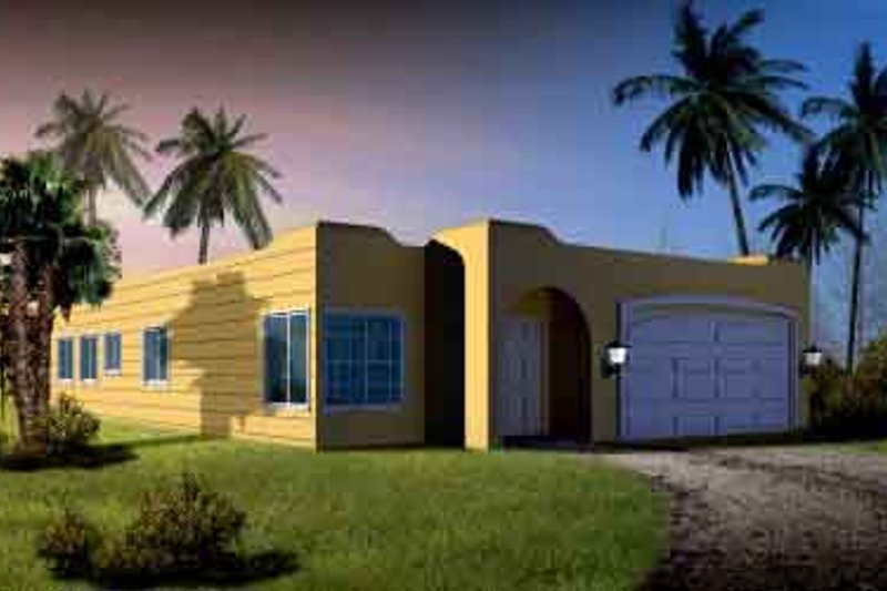Adobe / Southwestern Style House Plan - 3 Beds 2 Baths 1536 Sq/Ft Plan #1-1289 Exterior - Front Elevation