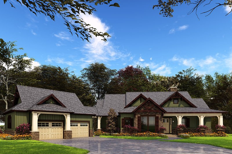 Craftsman Exterior - Front Elevation Plan #17-2504