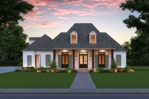 Southern Exterior - Front Elevation Plan #1074-34