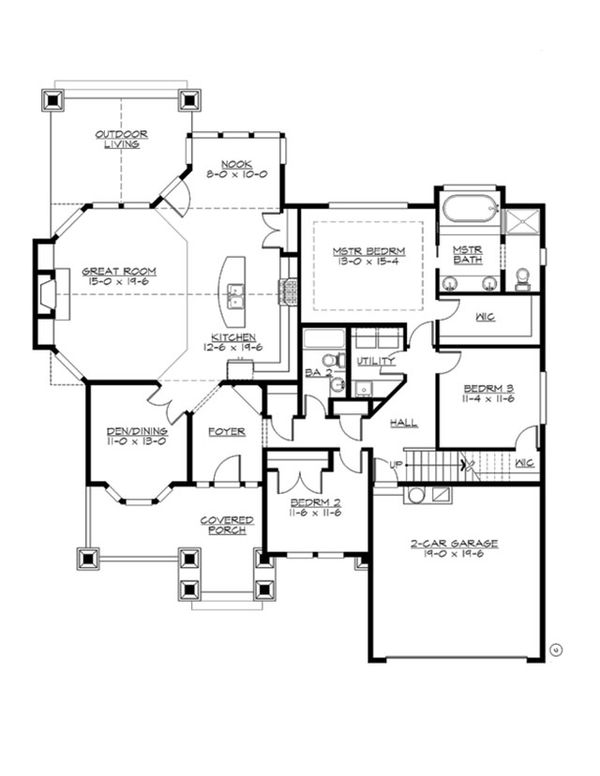Craftsman Floor Plan - Main Floor Plan Plan #132-202