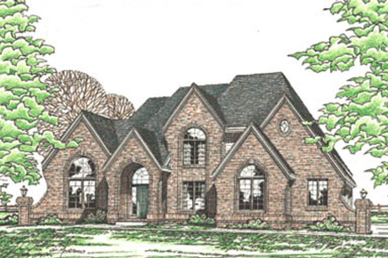 European Style House Plan - 4 Beds 3.5 Baths 3306 Sq/Ft Plan #20-1110 Exterior - Front Elevation