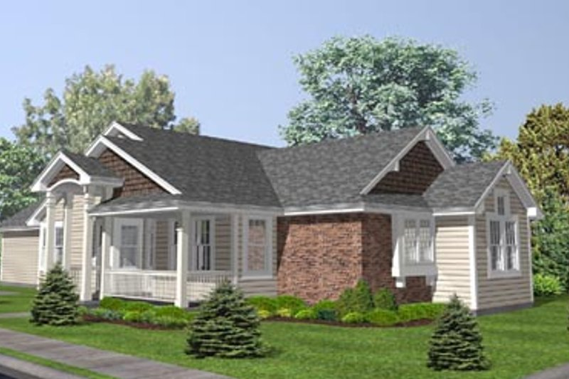 Country Style House Plan - 2 Beds 2.5 Baths 1625 Sq/Ft Plan #50-128 Exterior - Front Elevation
