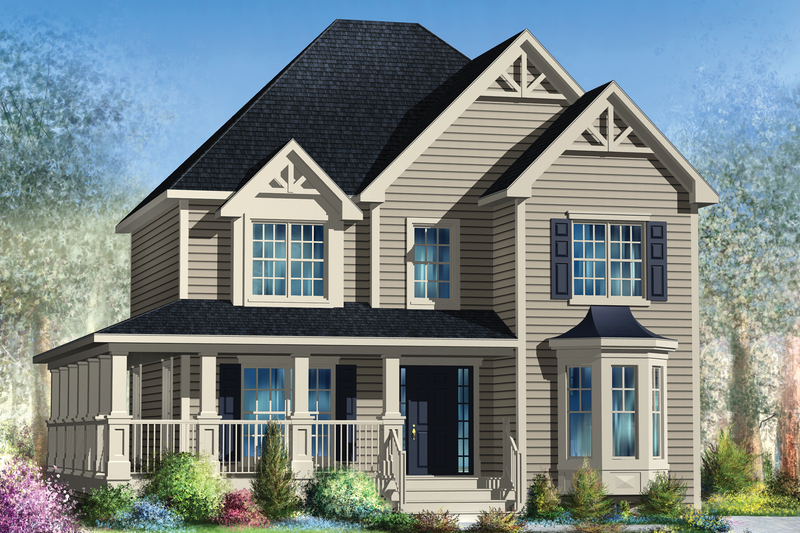 Country Style House Plan - 3 Beds 2.5 Baths 1709 Sq/Ft Plan #25-4346 Exterior - Front Elevation