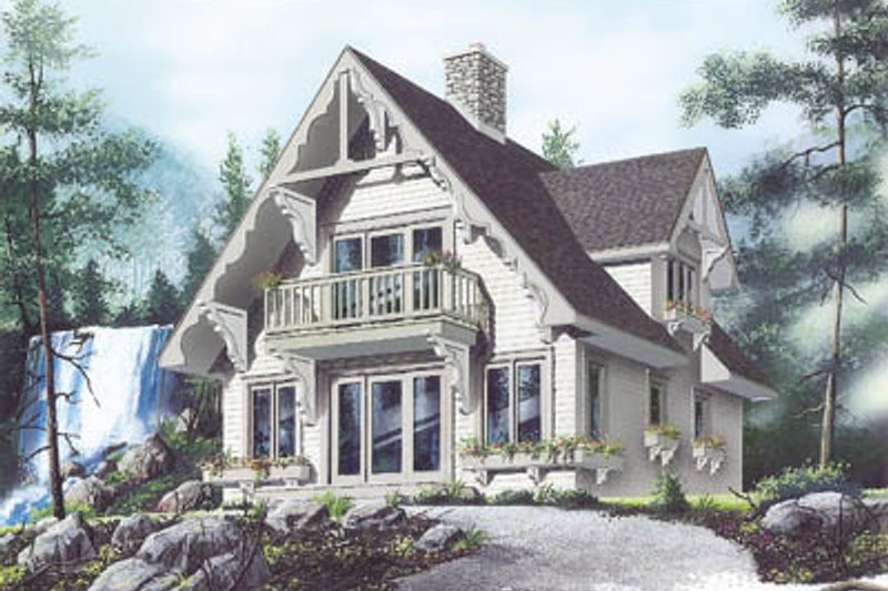 Cottage Style House Plan - 3 Beds 2 Baths 1510 Sq/Ft Plan #23-2032 Exterior - Front Elevation