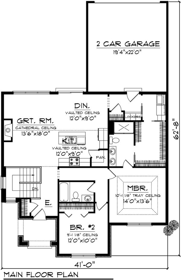 Dream House Plan - Cottage Floor Plan - Main Floor Plan #70-1074