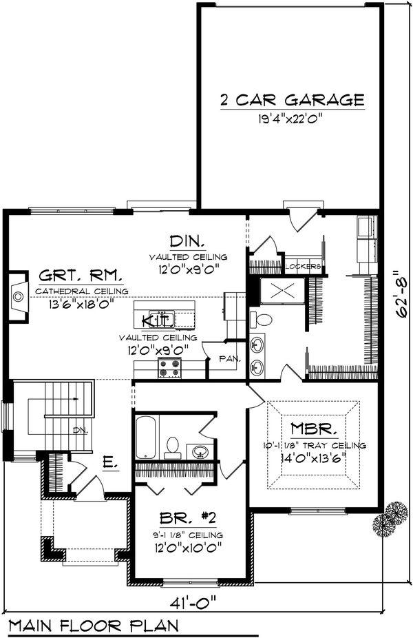 Dream House Plan - Cottage Floor Plan - Main Floor Plan #70-1074