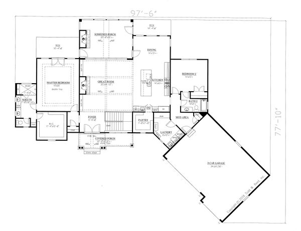 Craftsman Floor Plan - Main Floor Plan Plan #437-104