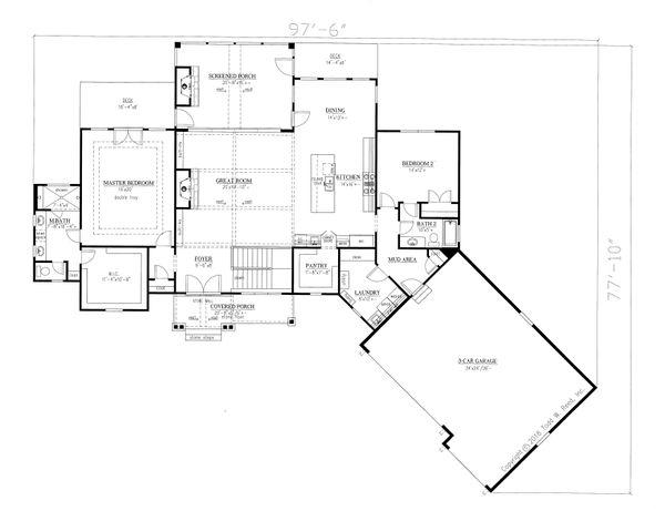 Dream House Plan - Craftsman Floor Plan - Main Floor Plan #437-104