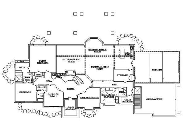 House Plan Design - European Floor Plan - Lower Floor Plan #5-347