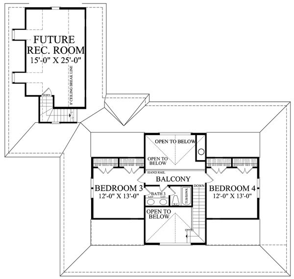 Farmhouse Floor Plan - Upper Floor Plan Plan #137-252