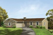 Ranch Style House Plan - 3 Beds 2 Baths 1620 Sq/Ft Plan #57-553 Exterior - Front Elevation